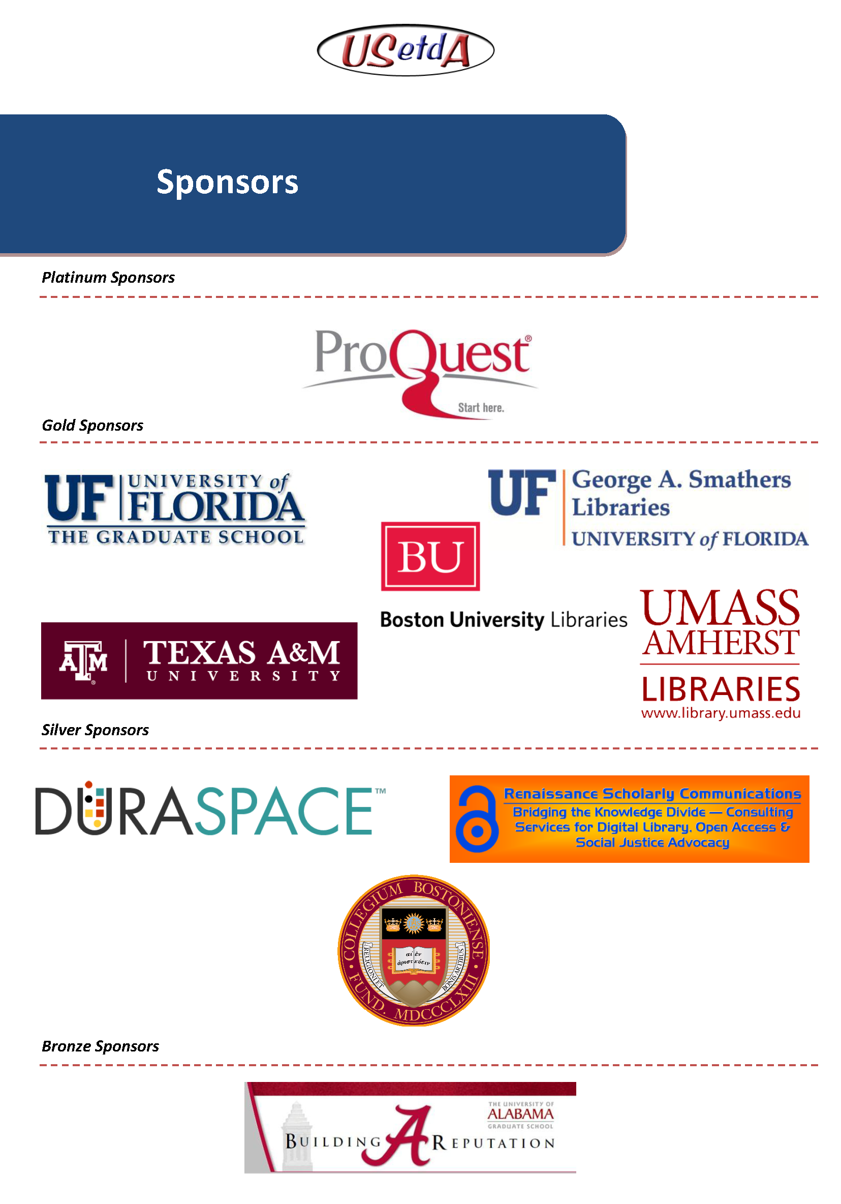 USETDA Conference Sponsors Combined Graphics
